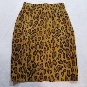 Dresses & Skirts - Vintage leather cheetah print pencil skirt S 10